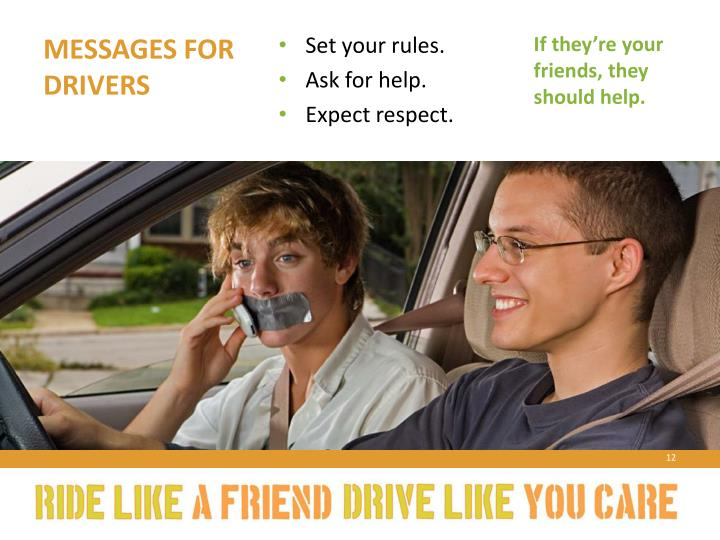 Messages for drivers