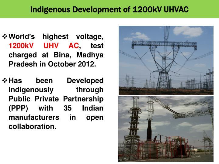 Indigenous Development of 1200kV UHVAC