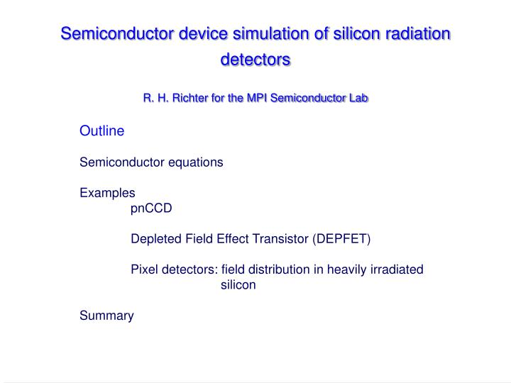 Ppt Outline Semiconductor Equations Examples Pnccd Depleted Field