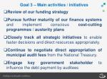 goal 3 main activities initiatives