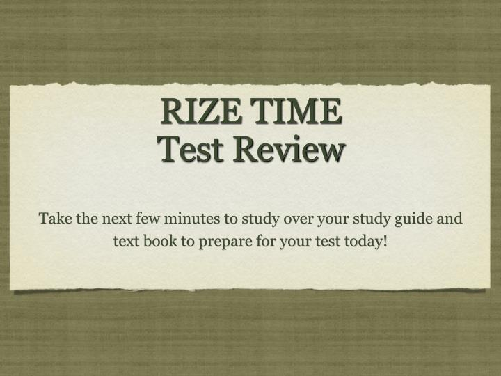 rize time test review n.