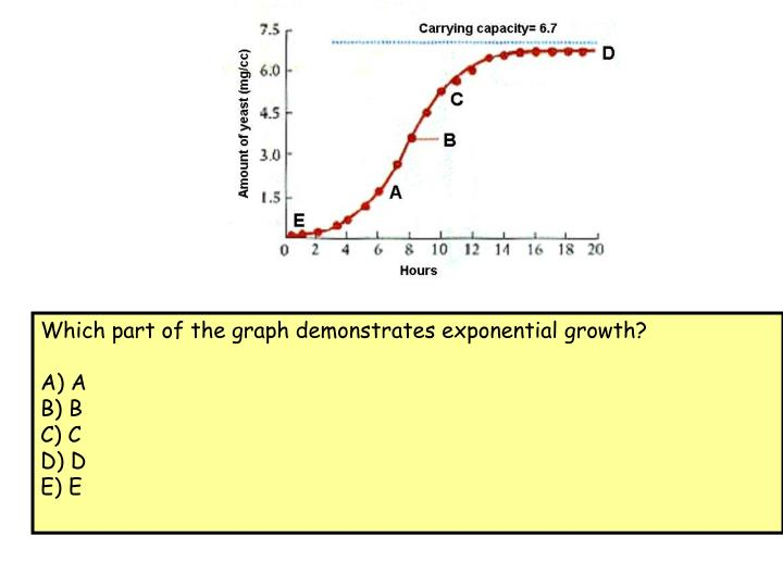 Which part of the graph demonstrates exponential growth?