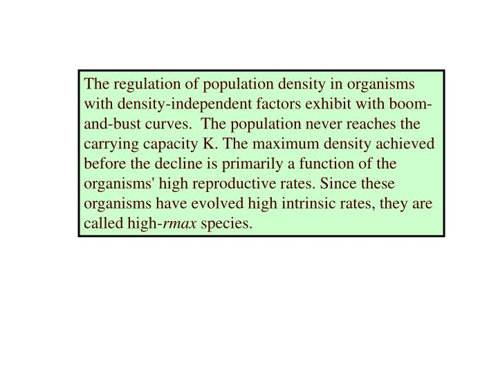 The regulation of population density in organisms with density-independent factors exhibit with boom-and-bust curves.  The population never reaches the carrying capacity K. The maximum density achieved before the decline is primarily a function of the organisms' high reproductive rates. Since these organisms have evolved high intrinsic rates, they are called high-