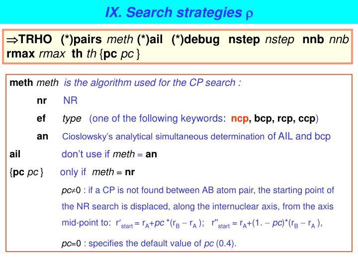 IX. Search strategies