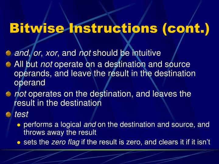 Bitwise Instructions (cont.)