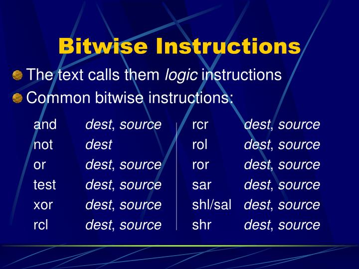 Bitwise Instructions