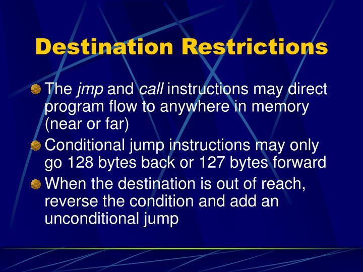 Destination Restrictions