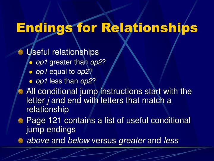 Endings for Relationships