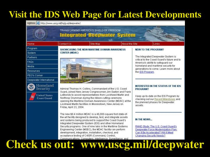 Visit the IDS Web Page for Latest Developments