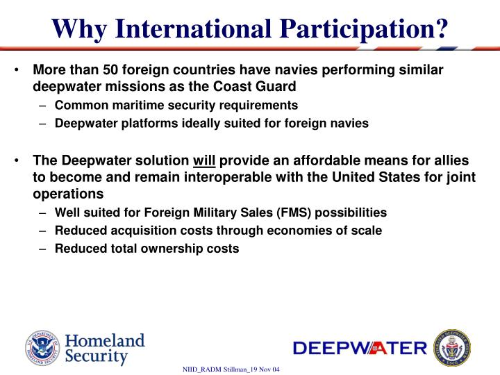 Why International Participation?