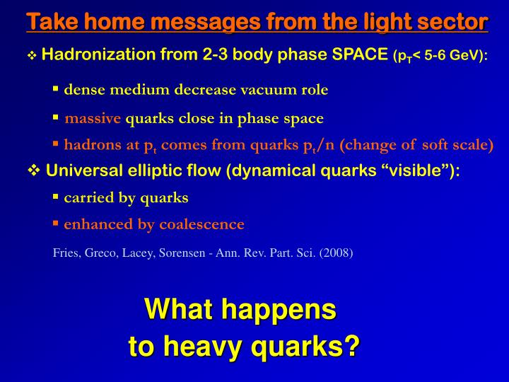 Take home messages from the light sector