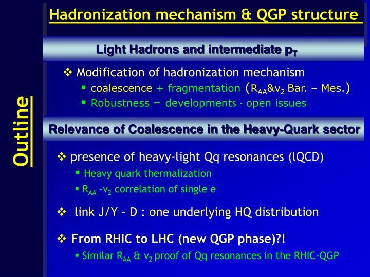Hadronization mechanism & QGP structure