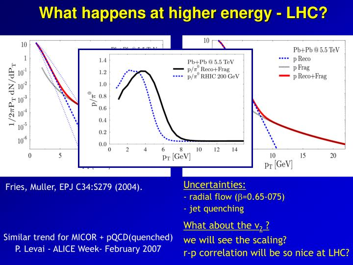 What happens at higher energy - LHC?