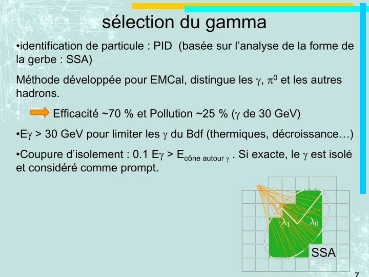 sélection du gamma