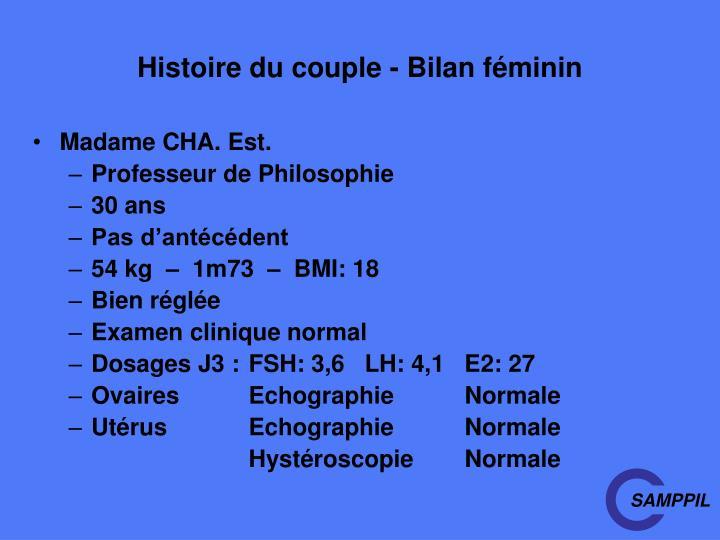 Histoire du couple - Bilan féminin