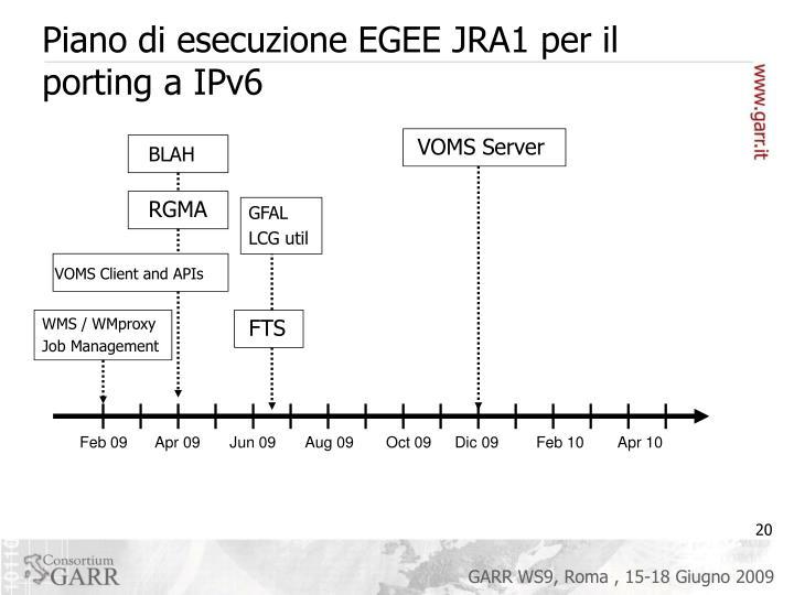 Piano di esecuzione EGEE JRA1 per il porting a IPv6