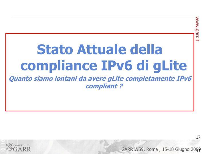 Stato Attuale della compliance IPv6 di gLite