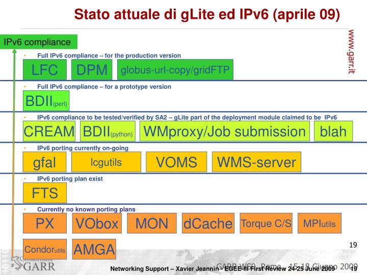 Stato attuale di gLite ed IPv6 (aprile 09)