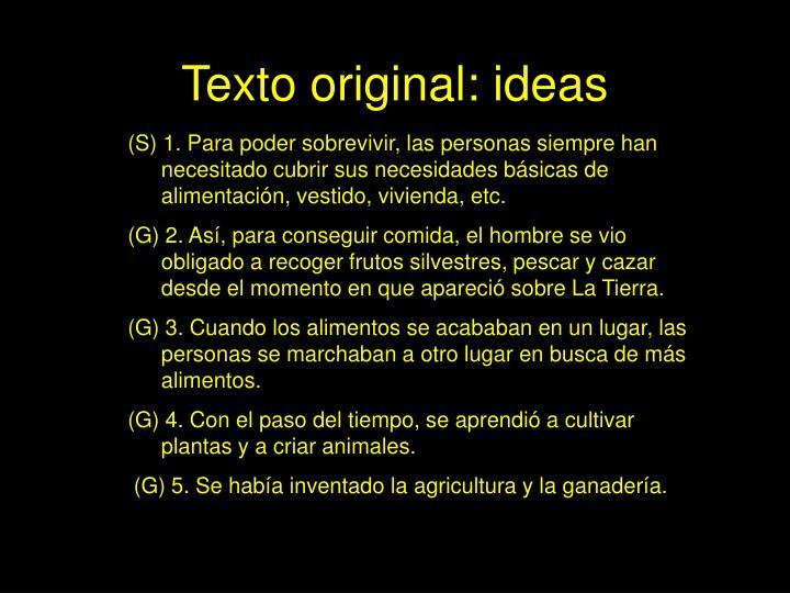 Texto original ideas