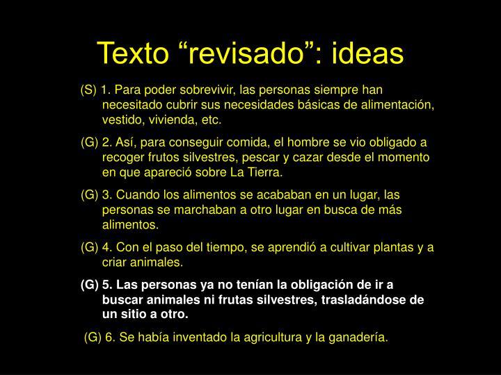 "Texto ""revisado"": ideas"