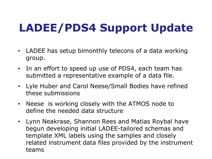 LADEE/PDS4 Support Update