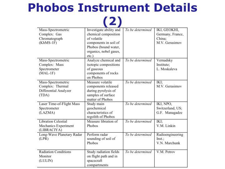 Phobos Instrument Details (2)