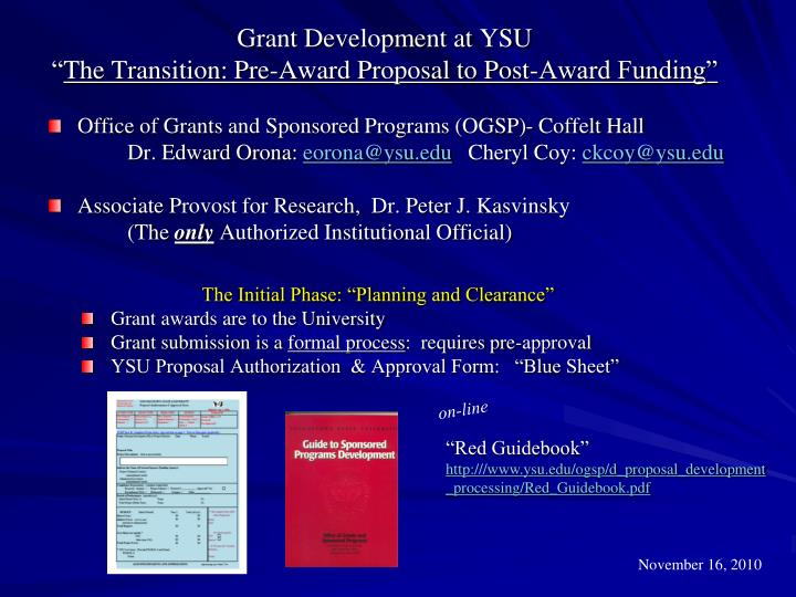 grant development at ysu the transition pre award proposal to post award funding n.