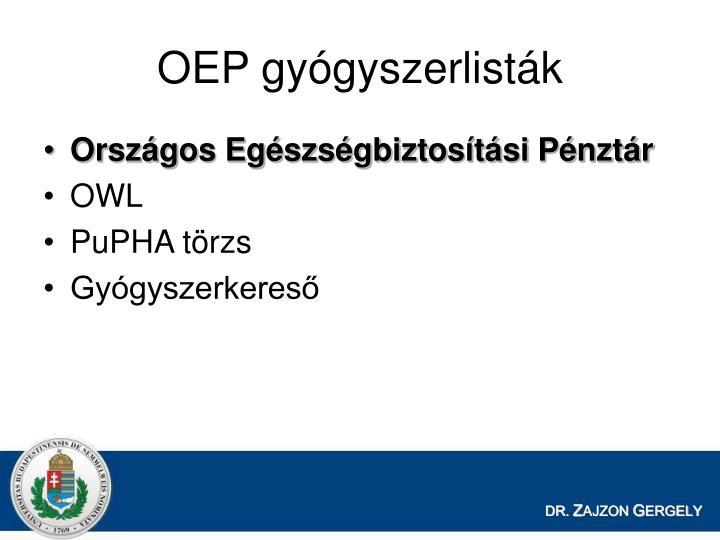 OEP gyógyszerlisták