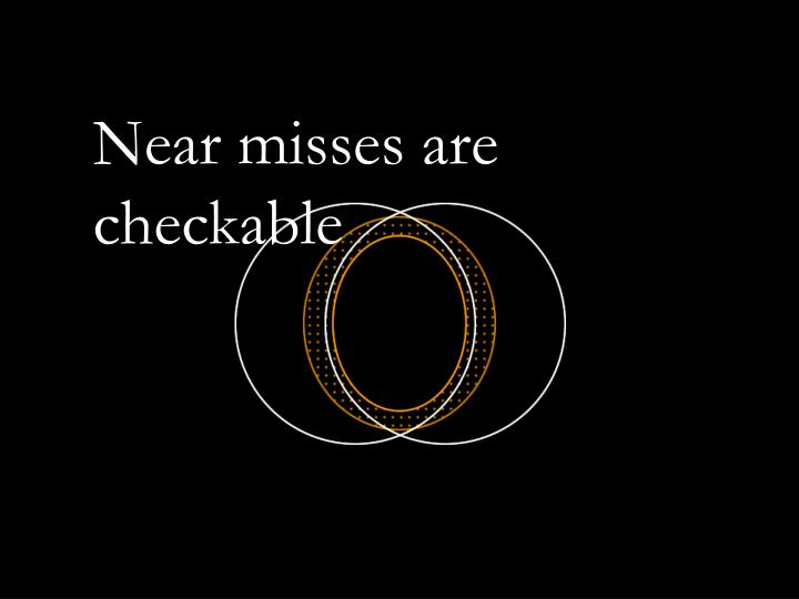 Near misses are checkable