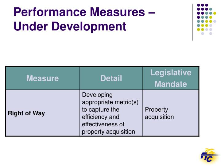 Performance Measures – Under Development