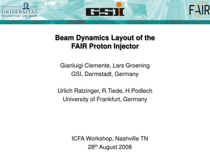 beam dynamics layout of the fair proton injector n.