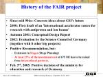 history of the fair project