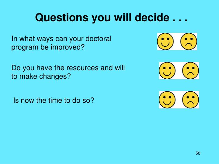 Questions you will decide . . .