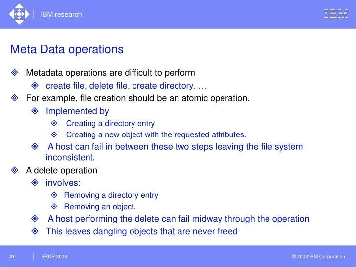 Meta Data operations