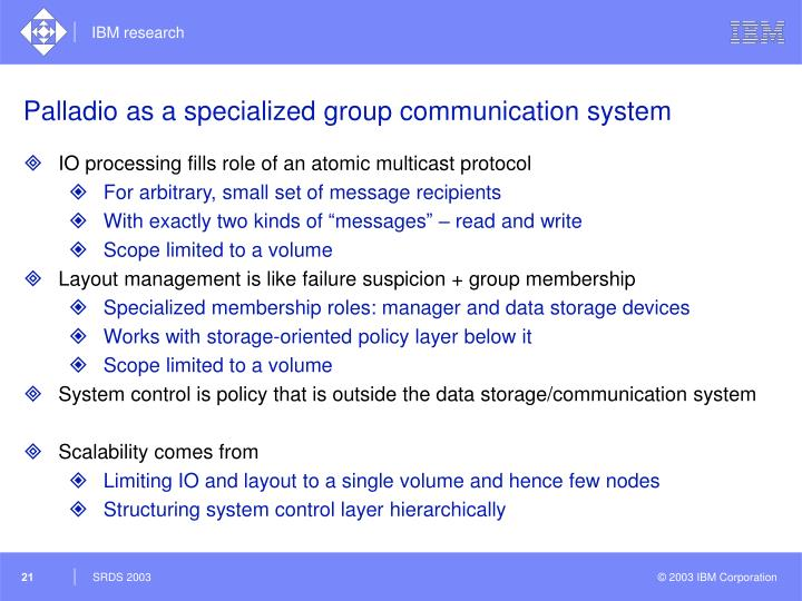 Palladio as a specialized group communication system