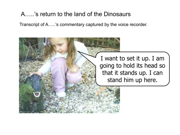 A…..'s return to the land of the Dinosaurs