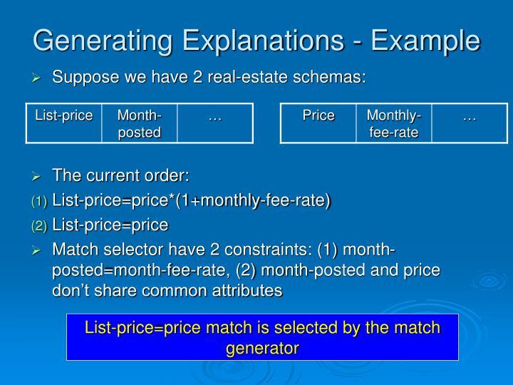 Generating Explanations - Example