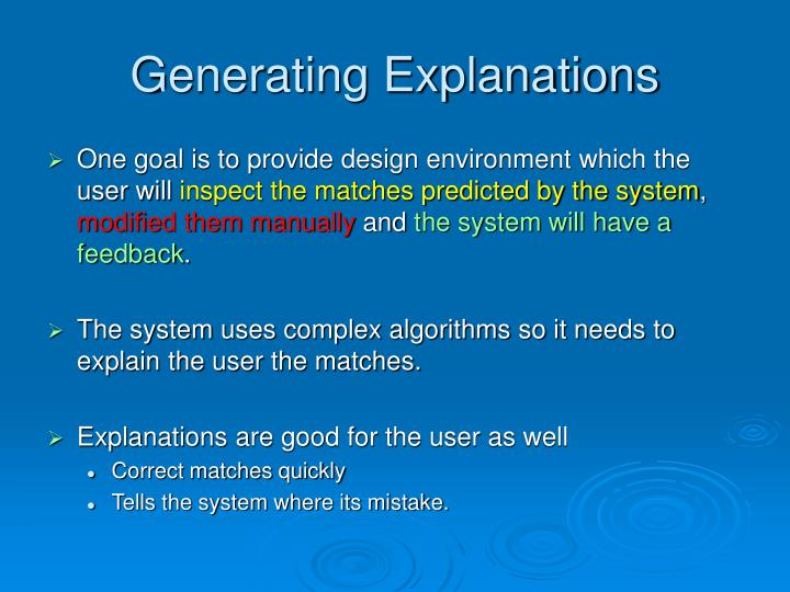 Generating Explanations