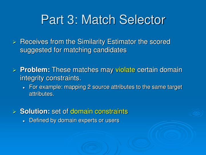 Part 3: Match Selector