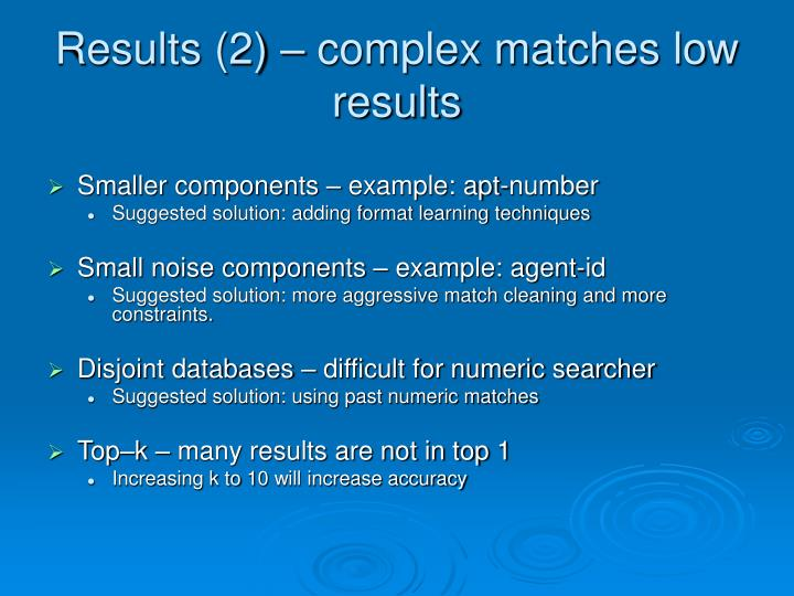 Results (2) – complex matches low results