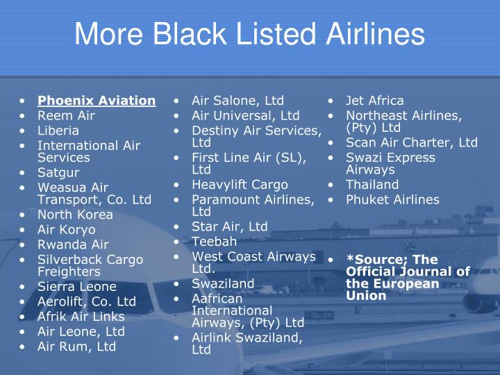 More Black Listed Airlines