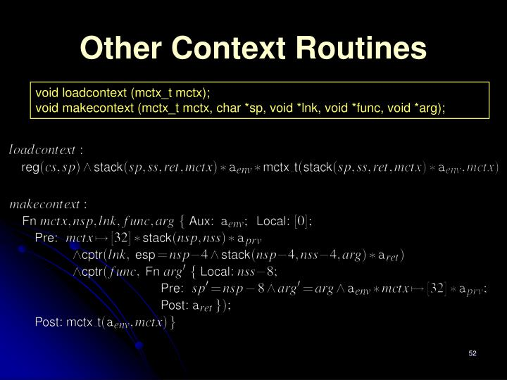 Other Context Routines