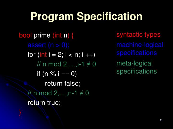 Program Specification