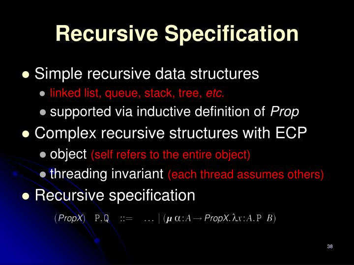 Recursive Specification