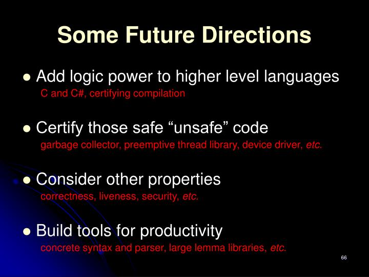Some Future Directions