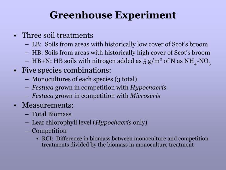 Greenhouse Experiment