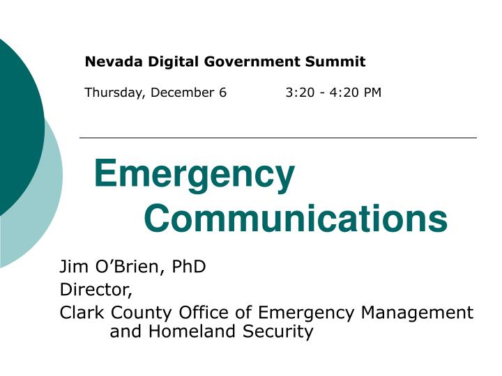 emergency communications n.