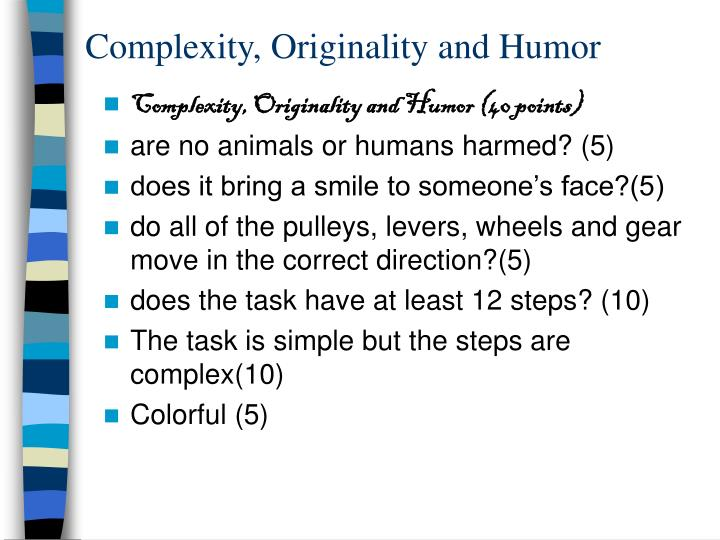 Complexity, Originality and Humor
