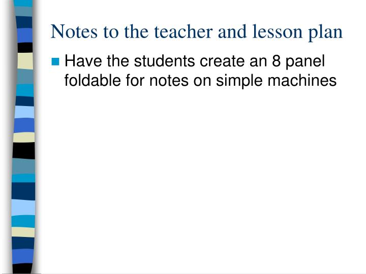 Notes to the teacher and lesson plan