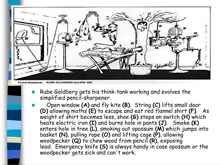 Rube Goldberg gets his think-tank working and evolves the simplified pencil-sharpener.